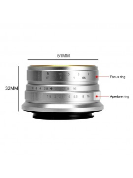 7ARTISANS 25MM F1.8 MANUAL FOCUS PRIME FIXED LENS SILVER FOR CANON (EOS M MOUNT)  CAMERA