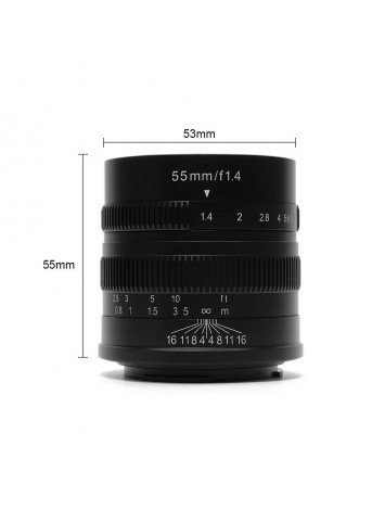 7ARTISANS 55MM F1.4 APS C MANUAL FIXED LENS BLACK FOR  CANON (EOS M MOUNT)