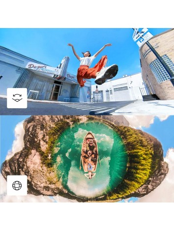 Insta360 ONE X2 360 Degree Waterproof Action Camera, 5.7K 360, Stabilization, Touch Screen, AI Editing, Live Streaming, Webcam, Voice Control